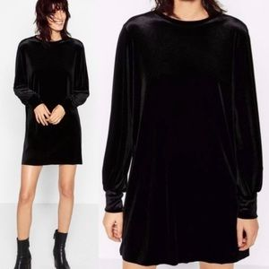 Zara Mini Velvet Shift Dress, Size S